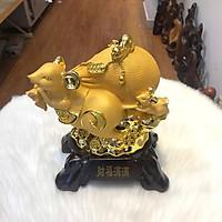 Tượng Chuột Phong Thủy Cõng Bao Tiền Mạ Vàng