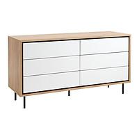 Tủ ngăn kéo JYSK Halby  6 ngăn gỗ công nghiệp trắng/sồi R138xC75xS45cm