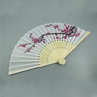 Quạt cổ trang Trung Quốc hoa đào tặng miếng dán xăm cơ thể