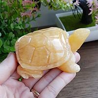 Cụ Rùa vàng bằng đá thạch anh thiên nhiên size 8cm - tặng kèm 10 xu vàng mini may mắn