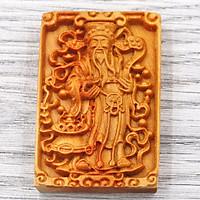 Mặt gỗ hoàng đàn - khắc hình thần tài MG36