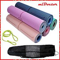 Thảm Yoga TPE 2 Lớp Siêu Dày 10mm (±0.5mm)  - Thảm Tập Yoga Định Tuyến TPE 2 Lớp Siêu Siêu Dày 10mm (±0.5mm) Chính Hãng miDoctor – Tặng Bao Đựng Thảm + Dây Buộc Thảm Tập Yoga