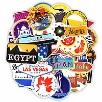 Set 60 Sticker du lịch, travel cắm trại ảnh ép lụa (giao mẫu ngẫu nhiên)