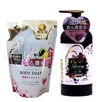 Sữa Tắm Trắng Da Chống Lão Hóa Hương Hoa Thiên Nhiên Nhật Bản FUNS LUXURY NO.36 Combo 1 Chai 450ml +1 Túi(400ML)