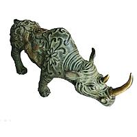 Tượng Tê Giác bằng đồng thau lên men xanh giả cổ dài 26cm nặng 950g - Linh vật phong thuỷ bảo vệ gia chủ