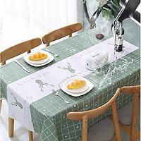 Khăn trải bàn PEVA cao cấp Xanh tuần lộc  ( 137x 137cm ) không thấm nước, chống thấm dầu siêu tiện ích - trang trí nội thất