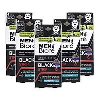 Combo 5 Hộp Miếng Dán Mũi Lột Mụn Than Hoạt Tính Men's Biore Pore Pack Black Strip (1 hộp/4 miếng x 5)
