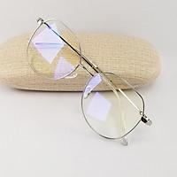 Gọng kính nam nữ mắt cận màu vàng hồng, đen, bạc kim loại SA9038. Tròng kính giả cận 0 độ chống ánh sáng xanh, chống tia UV