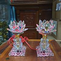 Cặp đèn thờ đá pha lê cao cấp tự động đổi 7màu cao 17 cm