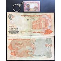 Tiền Xưa 500 Đồng Hoa Văn Việt Nam +Tặng Kèm Móc Khóa Hình Tờ Tiền Xưa [Tiền Xưa Sưu Tầm]