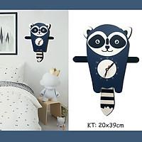 Đồng hồ treo tường LuHau - Đồng hồ treo tường trang trí phòng cho bé chủ đề Khủng Long, Chiếc thuyền vui vẻ, Racoon Gấu Mèo xinh xắn - Máy kim trôi không tiếng động, chạy pin.