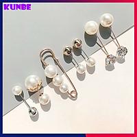 Set 7 Ngọc Trai Cài Áo, Trâm Cài Áo 2 Đầu Kiểu Dáng Mới KUNBE, Phong Cách Thời Trang Hàn Quốc