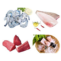 Combo 22: 1kg tôm sú lột vỏ còn đuôi + 500gr cá mú fillet + 500 đuôi cá ngừ fillet + 500gr sụn cá cờ gòn