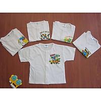 Áo tay ngắn cho bé-Set 5 ÁO sơ sinh CÚC GIỮA trắng TAY NGẮN cho bé (2.5KG-12KG)