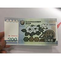 Tiền 200 Won của Bắc Triều Tiên hình bông hoa , tặng phơi nylon bảo quản tiền