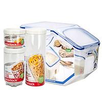 Hộp Đựng Gạo Và Thực Phẩm Có Khóa HPL510+INL301S002 (4 Hộp/ Bộ)