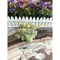 Tượng Cóc Ba Chân, Cóc Ngậm Tiền, Thiềm Thừ phong thủy chiêu tài lộc đá ngọc Onyx - Dài 12 cm