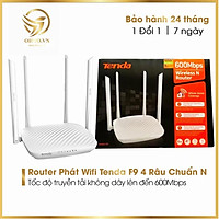 Bộ Phát Modern Wifi Router Tenda F9 Chuẩn N 600Mbps Cục Phát Sóng Wifi 4 Râu Siêu Mạnh Tốc Độ Cao hàng chính hãng