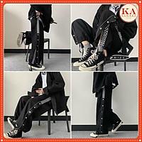 Quần ống rộng cúc đóng kẻ karo KA Closet Quần kiểu đóng cúc phối karo chất umi dầy unisex nam nữ mặc đẹp