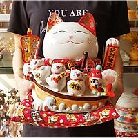 Mèo Thần Tài tay vẫy 27cm - Phong Sinh Thủy Khởi (tặng kèm 50 xu vàng mini may mắn)