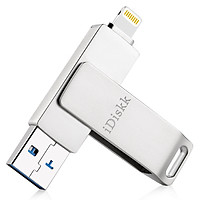 iDiskk U006 MFi Certified USB Flash Drive for iPhone/iPad (64G, Silver Gray)