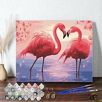 Tranh sơn dầu số hoá 40 x 50 cm có khung - đôi hồng hạc