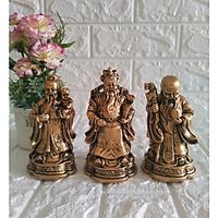 Bộ tượng Phúc Lộc Thọ đá poly phủ đồng cao 14cm TDN14