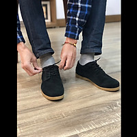 Giày nam thấp cổ buộc dây da bò lộn cao cấp màu đen đậm SueceBlack 1929C Sr7 - Giày boots nam cổ thấp buộc dây