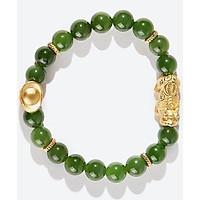 Vòng tay ngọc bích phối tỳ hưu bạc bọc vàng Ngọc Quý Gemstones