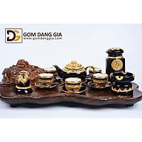 Bộ trà Bát Tràng họa trống đồng dát vàng