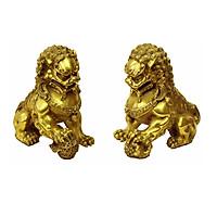 Tượng linh vật trừ tà trấn trạch đôi con Nghê bằng đồng thau phong thủy Tâm Thành Phát