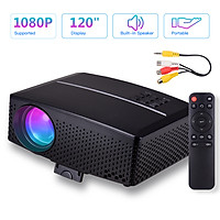 GP80 Mini LED Video Projector 1080P Supported 3500 Lumens 120 Inch Display Built-in Stereo Speaker with AV/USB/HD/VGA