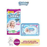 Combo 1 Miếng lót siêu thấm Bobby Newborn 1 - 108 miếng và 1 Gói khăn ướt trẻ em Bobby care không hương 100 tờ