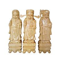 Tượng gỗ Tam Đa Phúc Lộc Thọ Gỗ Pơmu cao 35cm