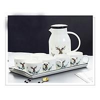 Bộ bình trà 6 cốc có khay sứ