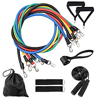 11pcs Resistance Bands Set Skipping Rope Workout Fintess Exercise Tube Bands Door Anchor Ankle Straps Cushioned Handles