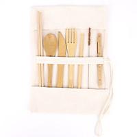 Bộ dụng cụ cá nhân 7 món bằng tre gồm Đũa, muỗng, dao, nĩa, ống hút, mang du lịch, làm việc văn phòng.