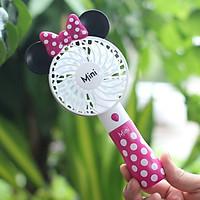 Quạt mini cầm tay chuột Mickey 3018, tặng kèm 1 gương mini (màu ngẫu nhiên)