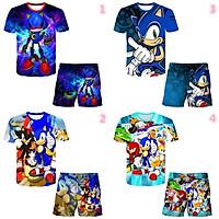 Áo Thun Tay Ngắn In Hình Sonic The Hedgehog Dành Cho Bé Trai