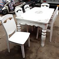 Bộ bàn ăn mặt đá nhập khẩu TULUO 1M6 6 ghế cao cấp