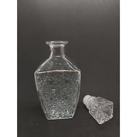 Chai Thủy Tinh đựng Rượu cao cấp mẫu VÁT VUÔNG Họa Tiết Nổi 750ML – Vỏ chai rượu 750ml siêu trong suốt