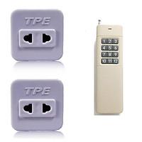 Bộ 2 ổ cắm điều khiển từ xa hồng ngoại RF TPE TF10 + Remote 12 nút R4B12