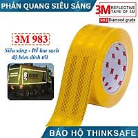 Băng keo phản quang 3M 983 phản quang theo cấu trúc kim cương, bền màu chuyên dùng phản quang xe máy, ôtô nhà xưởng (màu vàng)