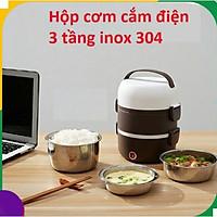 Hộp Cơm Cắm Điện Giữ Nhiệt 3 Tầng Inox, chức năng nấu chín, ủ nóng cơm, thức ăn (Hàng loại 1) tặng kèm móc khóa Shopping online