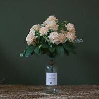 Bình hoa Hồng Quế màu Kem cổ điển - Hoa giả để bàn cao cấp