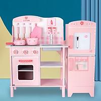 Combo đồ chơi gỗ bếp và tủ lạnh