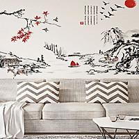 Decal dán tường tranh phong thủy lá đỏ abc1064