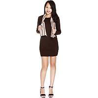 Đầm nữ Narsis NWS1231 màu nâu, tặng kèm 1 khăn kẻ nâu, chất liệu Cotton cao cấp cực mềm mại thông thoáng, co giãn tốt, sản phẩm được sản xuất tại Việt Nam bởi thương hiệu thời trang nổi tiếng NARSIS