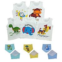 Combo 5 áo cotton Mẫu Sát Nách Trắng (Tặng kèm 1 yếm tam giác Thái Hà Thịnh)