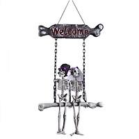 Halloween Welcome Plaque Skull Bride Groom Hanging Decoration Halloween Flying Skeleton Welcome Sign Ornament Gift for